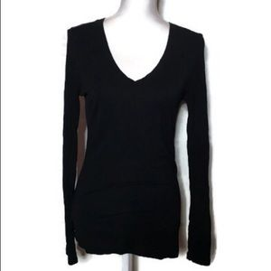 Black Long Sleeve Vneck
